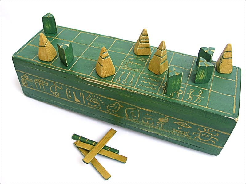 Senet, with box, game pieces and throwing sticks.
