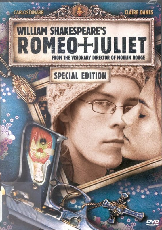 The DVD cover to Romeo + Juliet, featuring Carlos DiNabb instead of Leonardo DiCaprio.