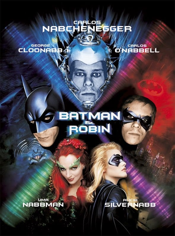 The DVD cover for Batman and Robin, featuring stars such as Carlos Nabchenegger and George Cloonabb.
