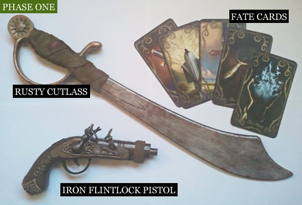Custom props of a rusty cutlass and an iron flintlock pistol.
