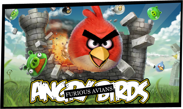 The title screen for Angry Birds, a red bird smashing through a castle, green pigs flying everywhere.