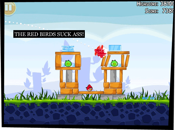 Screenshot depicting Angry Birds being played, a red bird hitting the wooden structure keeping the green pigs safe.