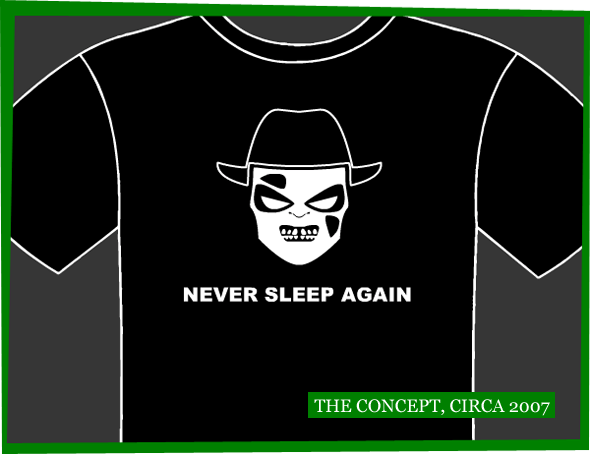 A T-shirt mockup showing a highly simplified Freddy Krueger in white, set against a black t-shirt.
