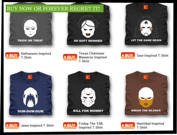 Screenshot showing the T-shirts being available for purchase from shotdeadinthehead.com.