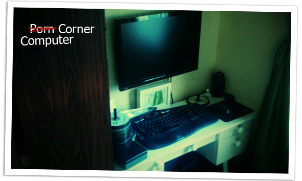The corner with our computer, wall-mounted monitor and all.