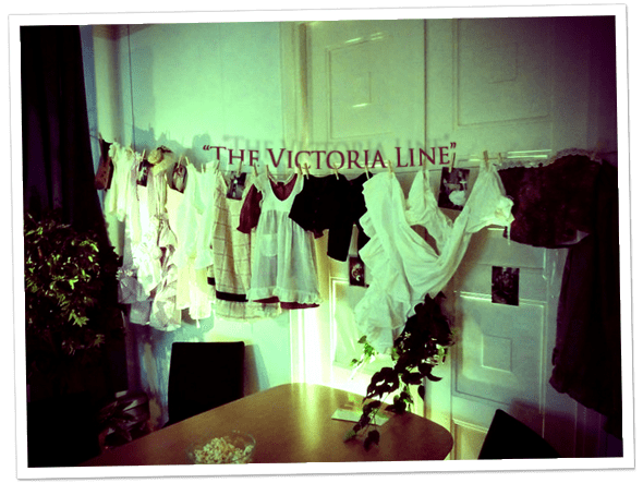 Rebecka Eriksson's clothing design and art installation called 'The Victoria Line'.