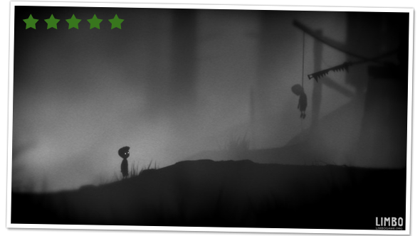 Screenshot of the main character from LIMBO standing and looking at a boy, hanging by a noose from wooden ledge.