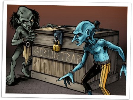 A cartoon drawing of goblins standing next to a wooden crate.