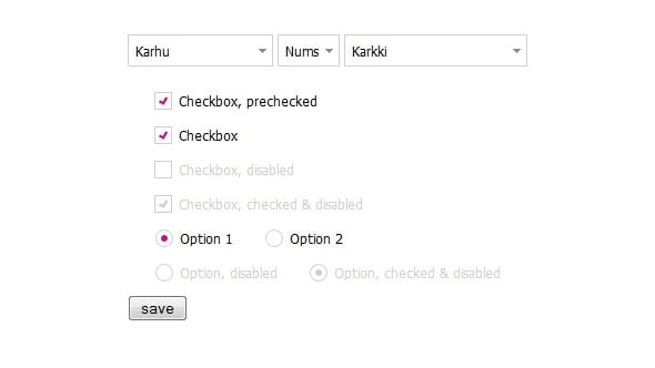 The styled checkboxes and radio buttons added to Benjamin's example.