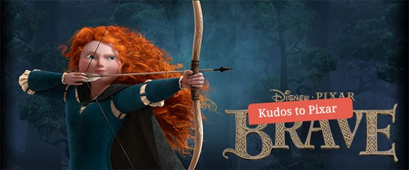 Merida, voiced by Kelly Macdonald, pulling back her bow and arrow to fire an arrow.