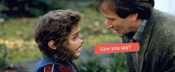 Bradley Pierce as Peter and Robin Williams as Alan sharing a tender moment as Peter has been transformed into a monkey and his new-found tail is itching.