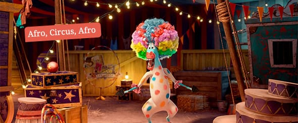 Marty the zebra, voiced by Chris Rock, singing afro circus afro circus whilst in full clown costume.