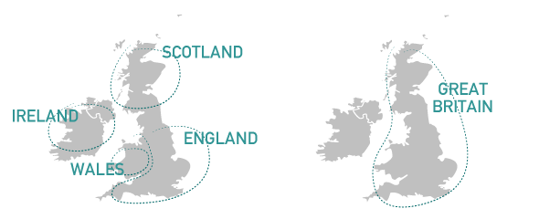 A map depicting the geographic regions of Ireland, Wales, Scotland and England.