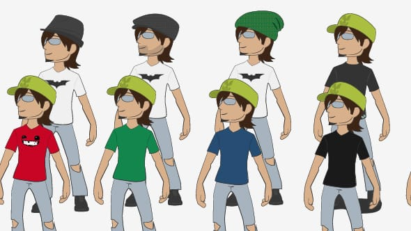 The Carlos Eriksson avatar in lots of different t-shirts and hats.