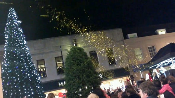 The annual Christmas tree in Maidstone being lit.