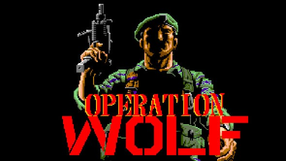 The title scren for the Commodore 64 game Operation Wolf.