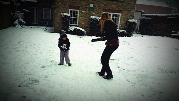 Lucien and Rebecka having a snowball fight.