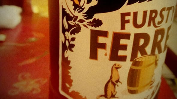 Close up of the label of an ale called Fursty Ferret.