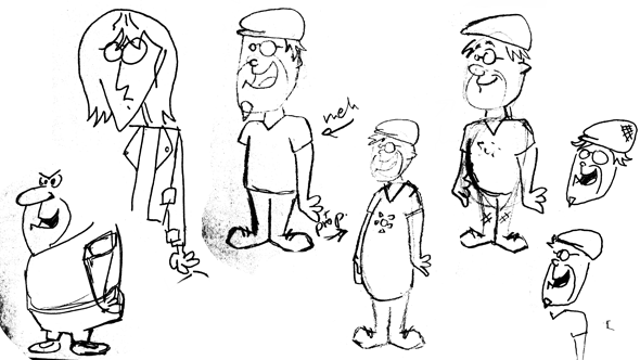 Sketches showing the evolution of the character, one looking like a direct replica of Fred Flintstone.