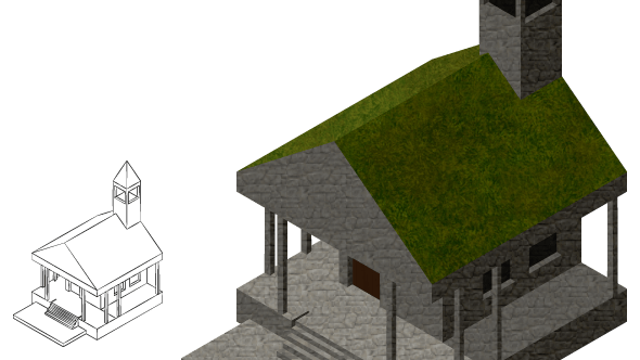 An early isometric building design.