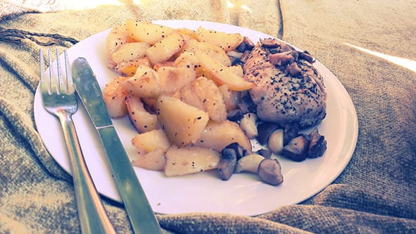 A plate of roasted potatoes, chicken breasts and roasted mushrooms.