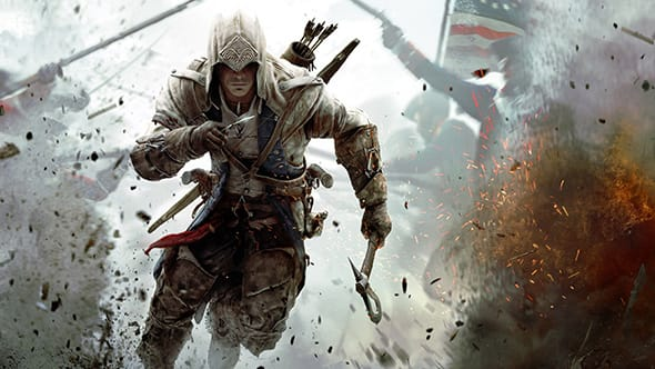 Ratonhnhaké:ton, the main protagonist from Assassin's Creed III, running through explosions and debris.