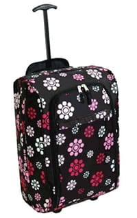 The flowery carry-on suitcase I have.