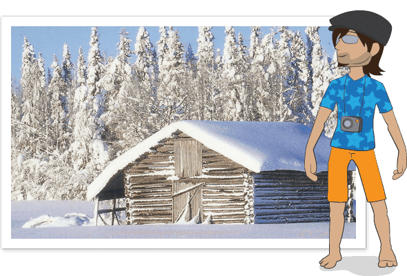 Carlos avatar standing in a hawaiian shirt and shorts, dressed inappropriately for the weather in Finland.