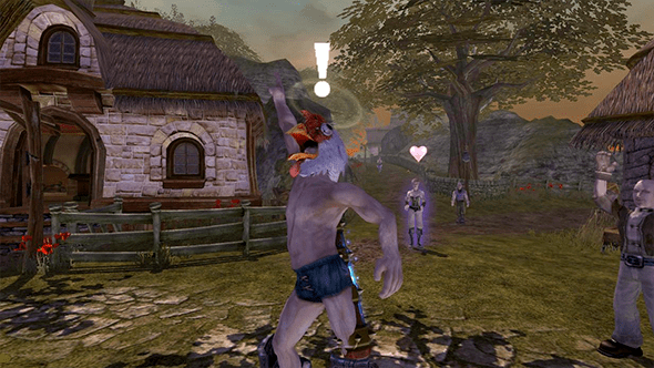 My character in Fable striking a heroic pose whilst naked expect for a giant chicken face on his head.