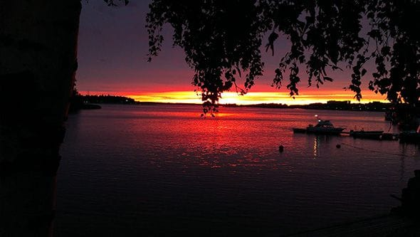 A breathtaking sunset during the Finnish summer.