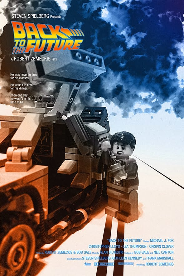 The movie poster for Back to the Future re-imagined using Lego.