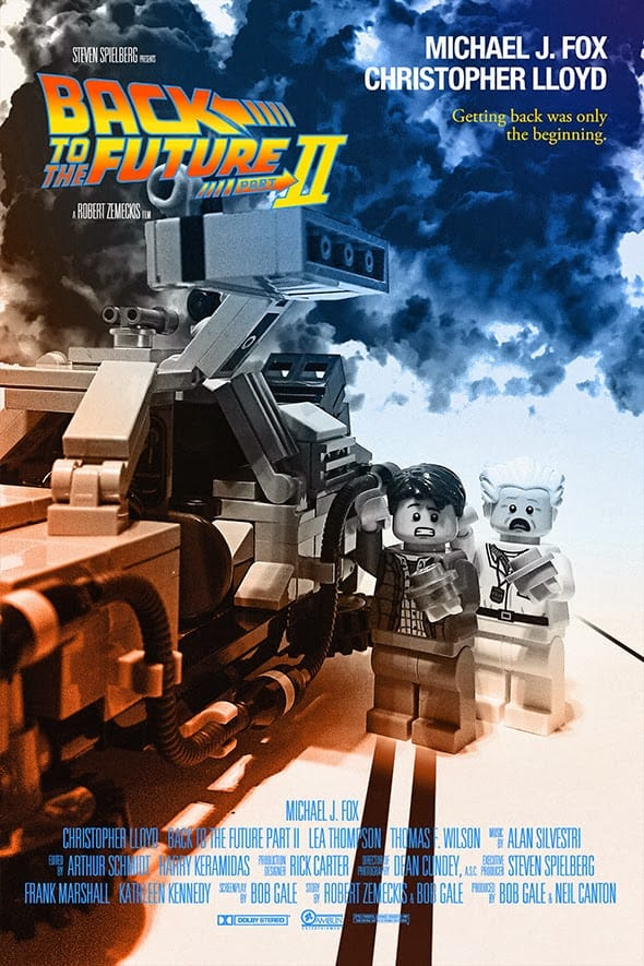 The movie poster for Back to the Future Part II re-imagined using Lego.