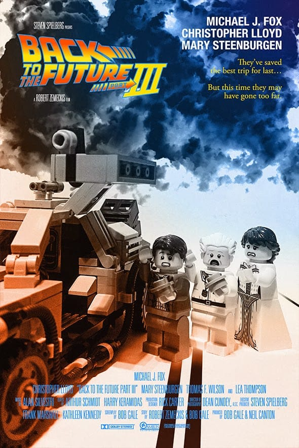 The movie poster for Back to the Future Part III re-imagined using Lego.