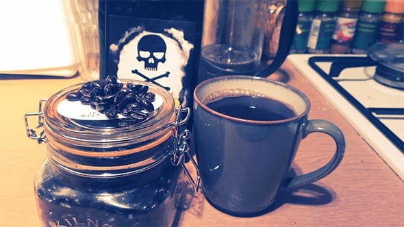 Death Wish coffee brewed and ready in my mug.