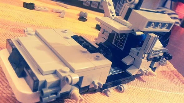 The Lego DeLorean being built.