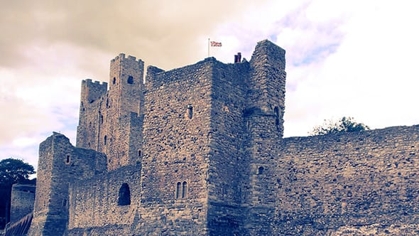 Rochester Castle in Rochester, UK.