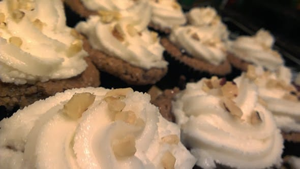 Closeup of the coconut frosting on the cupcakes.