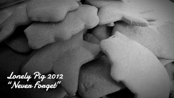 Black and white picture of gingerbread cookies, urging to not forget about the lonely pig of 2012.