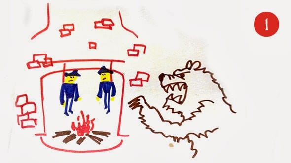 A crude drawing on bear attacking two policemen hanging by a chimney.