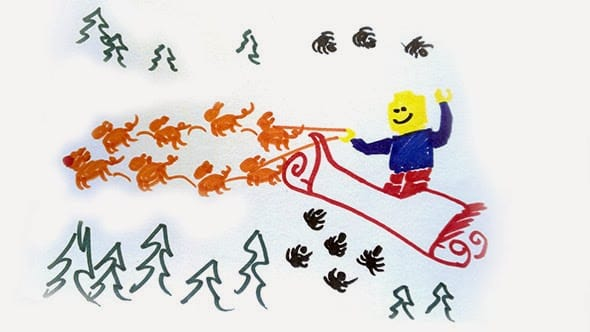 A crude drawing of a Lego minifigure riding a santa sledge drawn by tiny pigs and surrounded by little spiders.