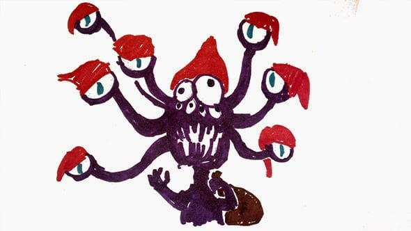 A crude drawing of a purple tentacle monster wearing a santa hat on each of its tentacle eyes.