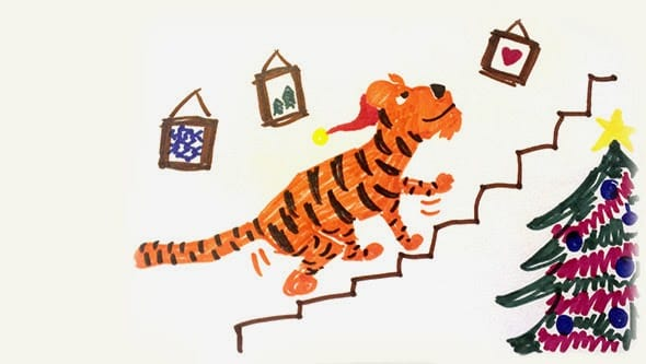 A crude drawing on a tiger wearing a santa hat running up the stairs.