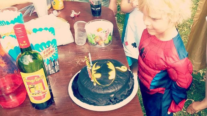 Lucien and his Batman birthday cake.
