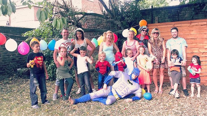 Group photo of all the guests at Lucien's birthday party.
