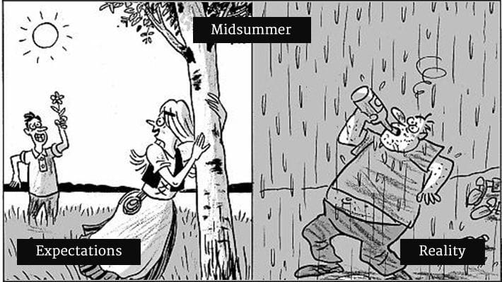 Funny cartoon depicting the difference in the expectation vs reality of midsummer.
