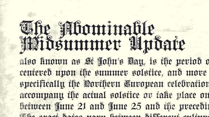 The Abominable Midsummer Update, designed to look like a medieval book