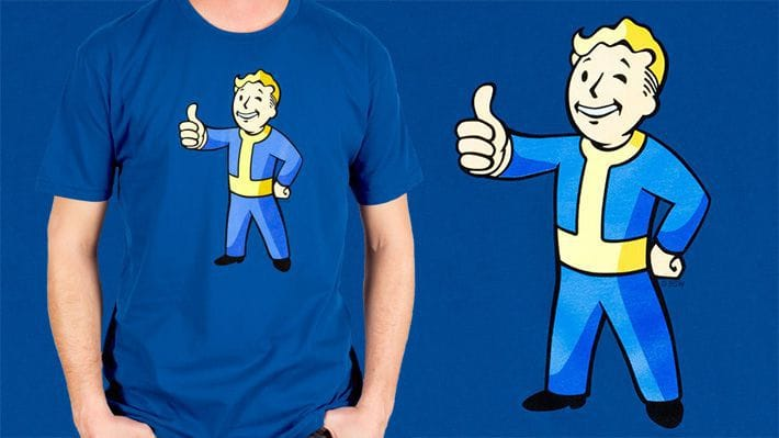Royal Blue -shirt featuring Vault Boy, the Vault Tec mascot from the Fallout series.