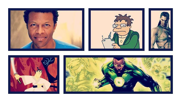 Comic book style illustration of Phil Lamarr and the many characters he does
