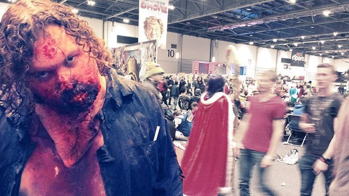 Zombie cosplayer staring blankly into the camera