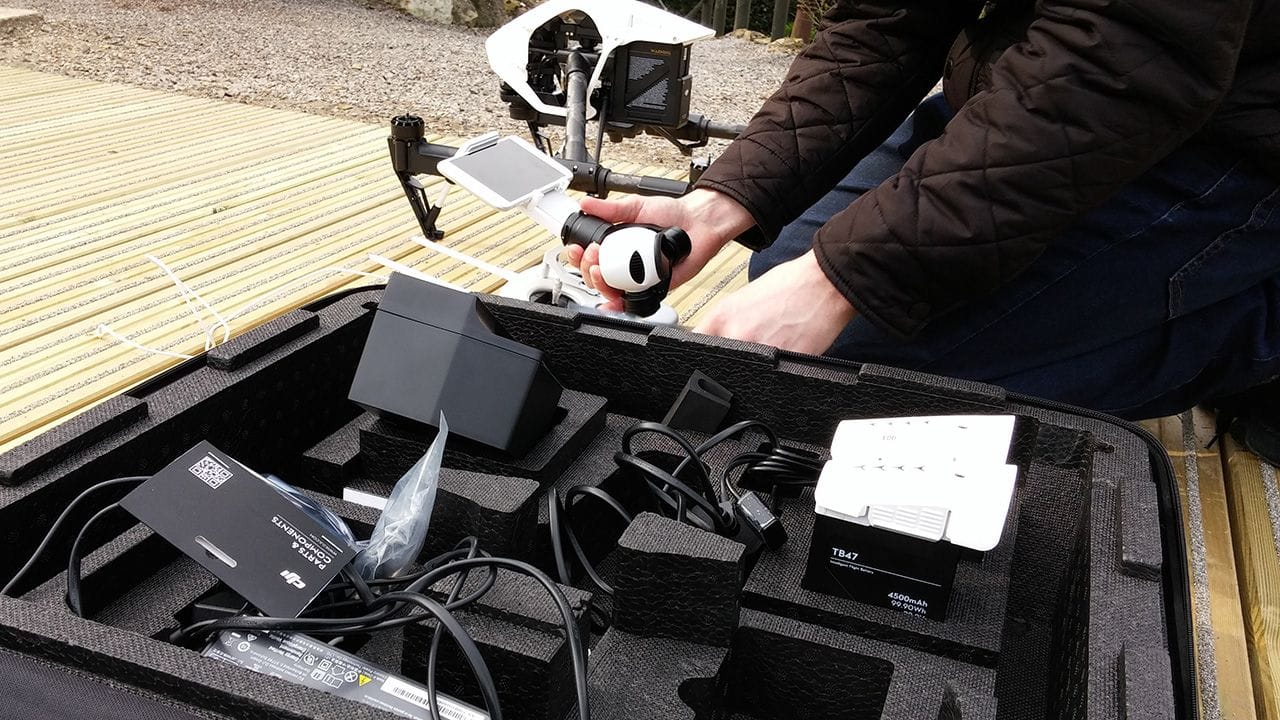 Attaching the camera on the DJI Inspire 1 Quadcopter